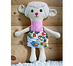 Hračky - Nádherná mojkacia hračka Ovečka OVKA a Baranček BARY (Ružová ovečka so sukienkou (farba sukienky podľa vlastného výberu z dostupného vzorkovníka)) - 10380529_