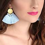 Náušnice - Zlaté náušnice so strapčekmi - ružové, mosadz - 10380655_