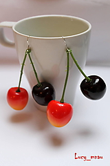 Náušnice - Náušničky čerešne-dvojfarebné :) - 10381697_