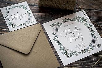 """Papiernictvo - Svadobné oznámenie """"Zelený venček s bielymi kvetmi"""" ❤ - 10379961_"""