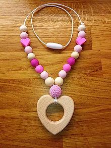 Náhrdelníky - Dojčiaci náhrdelník srdce - 10380450_