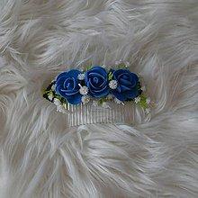 Ozdoby do vlasov - Hrebienok- modré ružičky - 10381642_