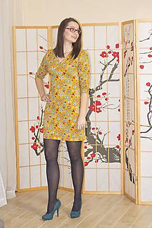 Šaty - Hořčičné květované šaty M/L - 10379133_