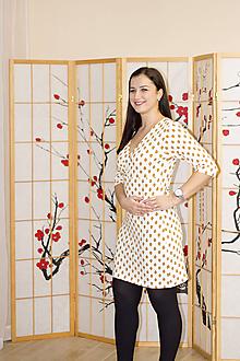 Šaty - Krémové lístečkové šaty M/L - 10379149_