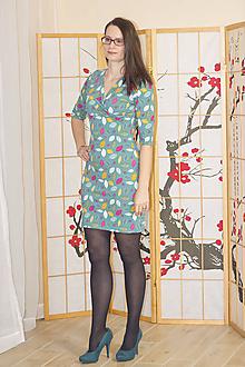 Šaty - Zelené lístečkové šaty S/M - 10379166_