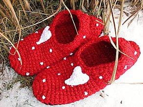 Obuv - Valentínske papuče podšité filcom č.38-39 - 10379257_