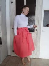 Sukne - ľanová sukňa - 10380792_