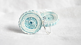 Náušnice - ornamenty modré - 10382594_
