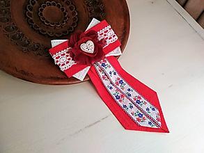 Odznaky/Brošne - Dámska kravata/brošňa pod golier...Folklórna červeno-biela - 10385186_