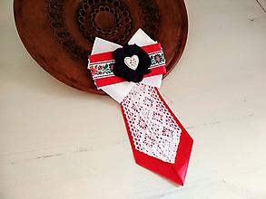 Odznaky/Brošne - Dámska kravata/brošňa pod golier...Folklórna červeno-biela - 10385200_