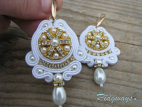 Náušnice - Button collection...soutache (White/Gold) - 10383586_