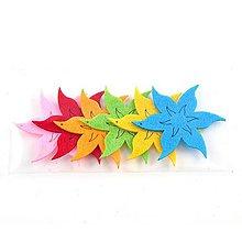 Textil - Filcová ozdoba, sada 6 ks, kvety - 10382601_