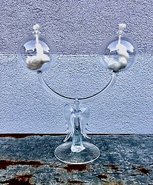 Svietidlá a sviečky - Designový dvojsvícen olejový Andělský - 10383565_