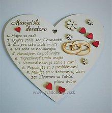 Darčeky pre svadobčanov - Srdce desatoro do manželstva (S ozdôbkami) - 10383749_