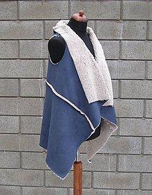 Iné oblečenie - Kožušinová vesta Modrá - 10384497_
