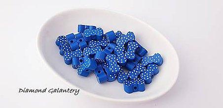 Korálky - Drevená korálka- mašlička - 20x10 mm - kráľovská modrá - 10384277_