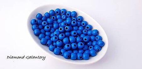 Korálky - Korálky drevené 10 mm - kráľovská modrá - 10384334_