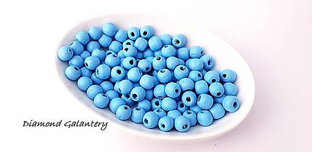 Korálky - Korálky drevené 10 mm - modrá - 10384339_