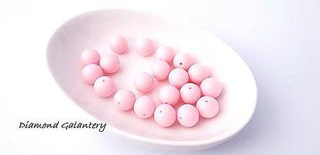 Korálky - Akrylové korálky 14 mm - svetlé ružové - 10384409_