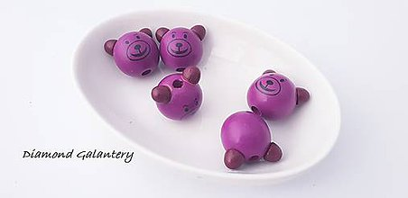 Korálky - Drevená korálka 3D Macko - fialový - 10384553_