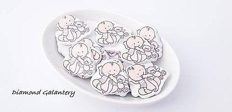 Korálky - Drevená korálka bábätko 35x33 mm - ružové - 10384749_