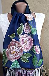 Šály - Zahalená pôvabom-hodvábny maľovaný šál so strapcami - 10383116_