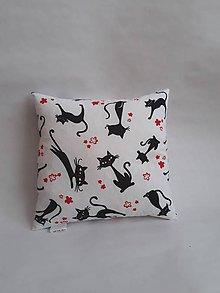 Úžitkový textil - Vankúšik mini - mačky (Čierno-biela) - 10384807_
