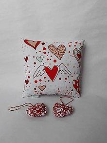 Úžitkový textil - Vankúšik mini - Valentín - srdiečka (Červená) - 10384815_