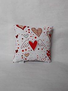 Úžitkový textil - Vankúšik mini - Valentín - srdiečka (Červená) - 10384817_
