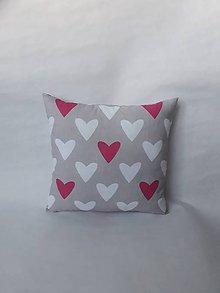 Úžitkový textil - Vankúšik mini - Valentín - srdiečka (Šedá) - 10384825_