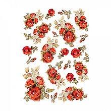 Papier - Ryžový papier Stamperia A4 -RED ROSES - 10382899_