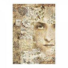 Papier - Ryžový papier Stamperia A4 -OLD LACE FACE - 10382935_