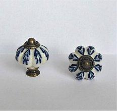 Komponenty - Keramická úchytka maľovaná-modrý vzor - 10384894_
