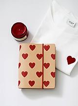 Papiernictvo - Kožený zápisník/karisblok HEARTS A6 - 10383577_