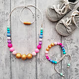 Sady šperkov - Set silikónového náhrdelníka a náramku na žužlanie