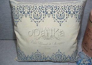 Úžitkový textil - ľanový vankúš Čipka - 10384569_
