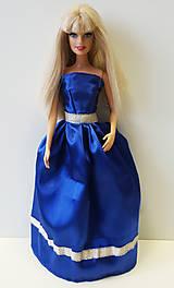 Hračky - Modré spoločenské šaty pre Barbie - 10383630_