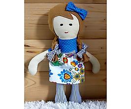 Hračky - Látková bábika (Helenka Modrá so sukienkou (farba sukienky podľa vlastného výberu z dostupného vzorkovníka)) - 10383464_
