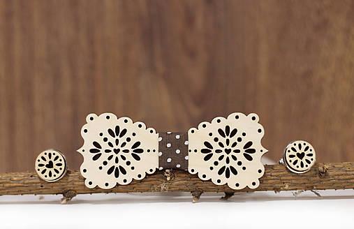Motýlik Medový kvet - svetlý + manžetové gombíky