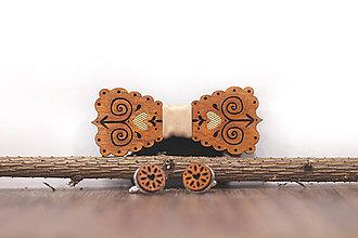 Doplnky - Motýlik Čičmanec - gaštan + manžetové gombíky - 10383324_