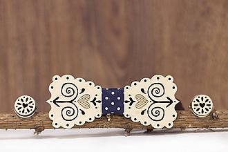 Šperky - Motýlik Čičmanský - svetlý + manžetové gombíky - 10383761_