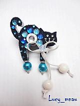 Odznaky/Brošne - Brošnička mačička modrá s bielou mašlou:) - 10382808_
