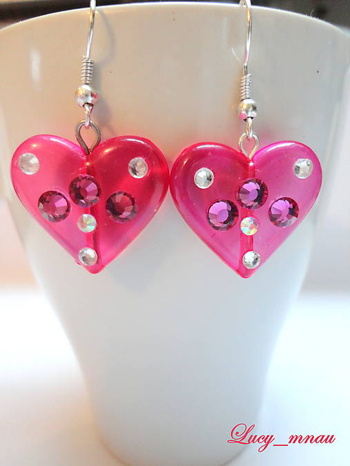 Náušničky srdiečkové-ružové :)