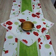 Úžitkový textil - MAKY so zelenou -  obrus štvorec 40x40 - 10382333_