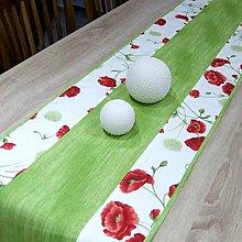 Úžitkový textil - MAKY so zelenou (2) - stredový obrus - 10383465_