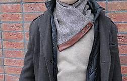 Doplnky - Pánsky originálny vlnený šál s koženým lemom - 10382649_