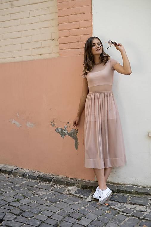 Šaty - Šaty s riasenou sukňou v midi dĺžke ROSE COLLECTION ( pôvodná cena 69 € )  - 10385273_