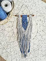 Dekorácie - Macrame dekorace v barvě modrá a surová přírodní - 10384544_