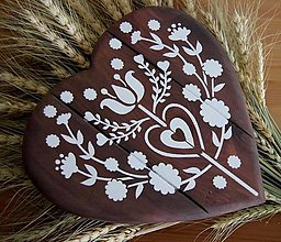 Tabuľky - Dekoračná tabuľka - srdiečko folklórne kvet - 10385109_