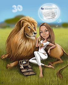 Obrazy - 1 osoba a zvieratko+pozadie+výtlačok - 10382812_